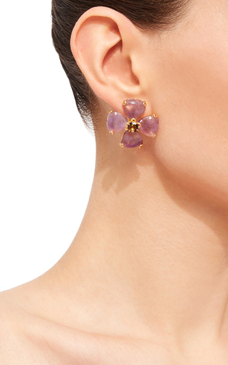 Amethyst And Smoky Quartz Stud Earrings by BOUNKIT Now Available on Moda Operandi
