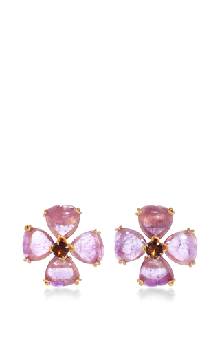 Medium bounkit multi amethyst and smoky quartz stud earrings