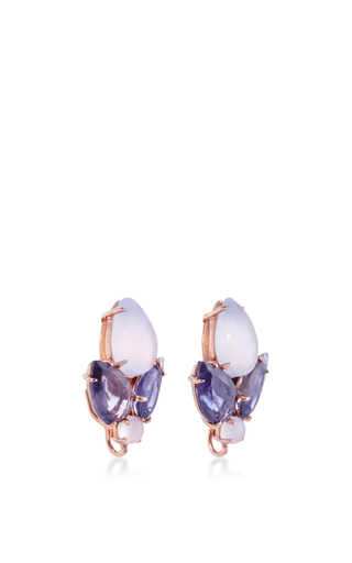 Chalcedony And Iolite Stud Earrings by BOUNKIT Now Available on Moda Operandi