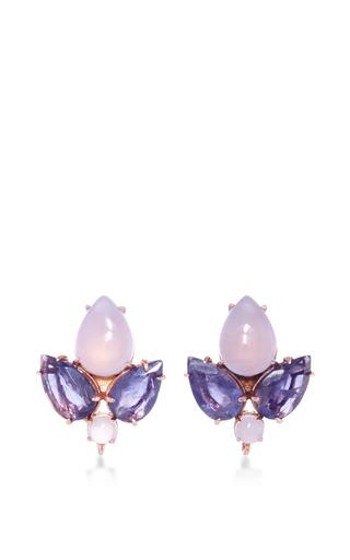 Medium bounkit multi chalcedony and iolite stud earrings