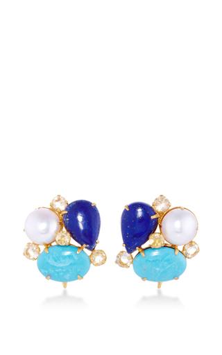 Medium bounkit multi mixed stone stud earrings