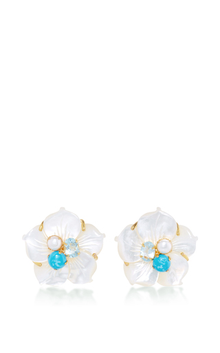 Carved White Pearl Flower Studs by BOUNKIT Now Available on Moda Operandi