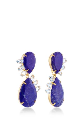 Lapis And Blue Quartz Drop Earrings by BOUNKIT Now Available on Moda Operandi
