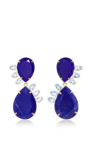 Medium bounkit multi lapis and blue quartz drop earrings