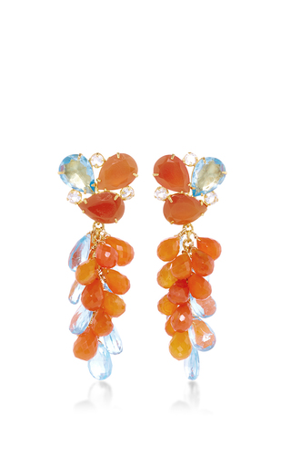 Medium bounkit multi carnelian and blue quartz drop earrings