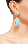 Turquoise And Clear Quartz Drop Earrings by BOUNKIT Now Available on Moda Operandi
