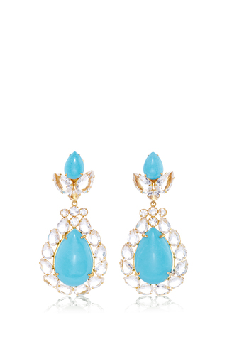 Medium bounkit multi turquoise and clear quartz drop earrings