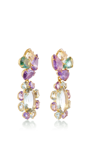 Amethyst And Quartz Drop Earrings by BOUNKIT Now Available on Moda Operandi