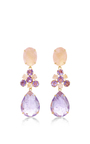 Rose Quartz And Amethyst Drop Earrings by BOUNKIT Now Available on Moda Operandi