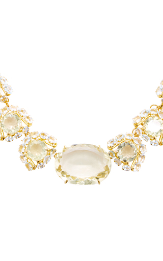 Lemon Quartz And Aquamarine Necklace by BOUNKIT Now Available on Moda Operandi
