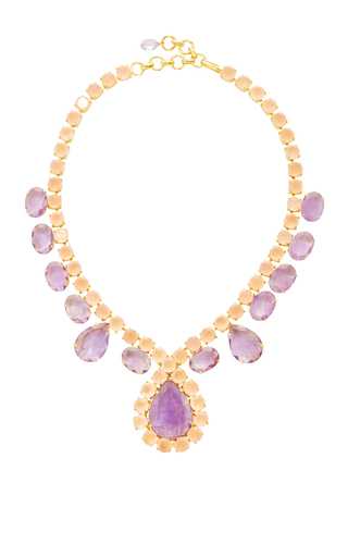 Rose Quartz And Amethyst Necklace by BOUNKIT Now Available on Moda Operandi