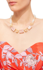 Rose Quartz And Moonstone Necklace by BOUNKIT Now Available on Moda Operandi