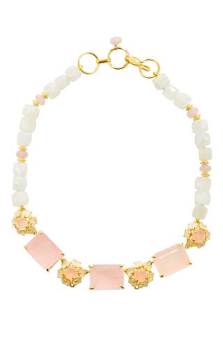 Medium bounkit multi rose quartz and moonstone necklace