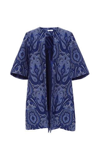 Medium elizabeth kennedy blue ottoman paisley evening coat
