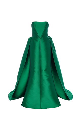 Medium elizabeth kennedy green strapless gown with overskirt