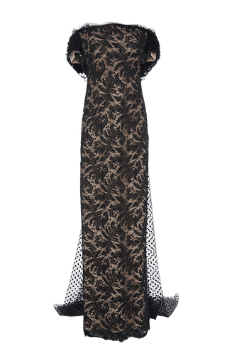 Medium elizabeth kennedy black off the shoulder gown with cape  2