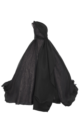 Medium elizabeth kennedy black one shoulder paisley organza bown