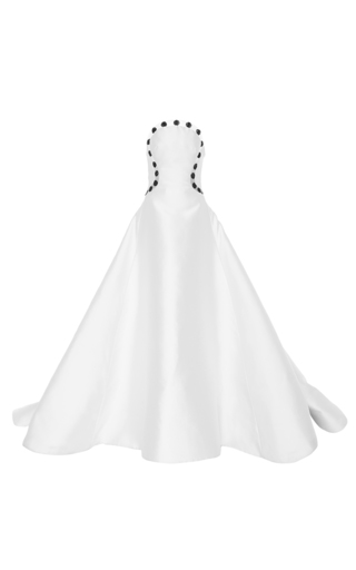 Medium elizabeth kennedy white strapless gown with illusion dot embroidery
