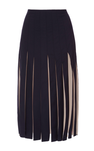 Medium gabriela hearst navy charlotte sheer pleated skirt