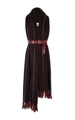 Medium dorothee schumacher stripe belted ruby fringe wool tabard