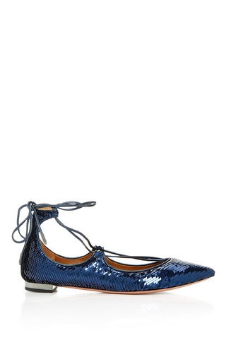 Christy Sequin Flat by AQUAZZURA Now Available on Moda Operandi