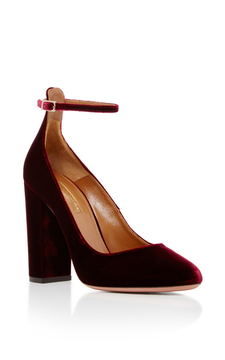 Medium aquazzura burgundy alix velvet pumps