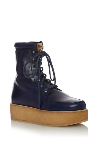Medium gabriela hearst navy david crepe platform