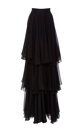 Medium houghton black angela silk chiffon skirt