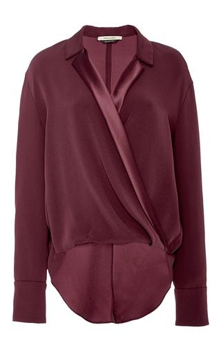 Medium hellessy burgundy kanda wrap drape heavy silk blouse