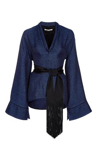 Medium hellessy blue river bell sleeve belted top