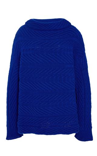 Medium hellessy blue jacki boatneck cable sweater