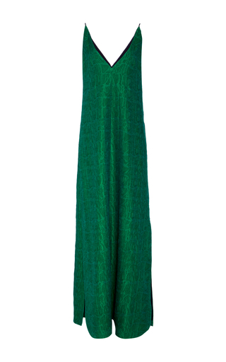 Medium hellessy green salima jacquard v neck gown