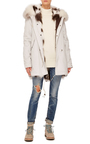 Embroidered Canvas Midi Platinum Fox Fur Parka by MR & MRS ITALY Now Available on Moda Operandi