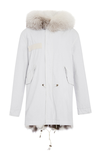 Medium mr mrs italy white embroidered canvas midi platinum fox fur parka