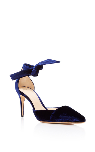 Medium alexandre birman navy savina velvet pump