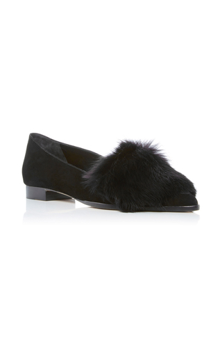 Medium alexandre birman black johan fur flats