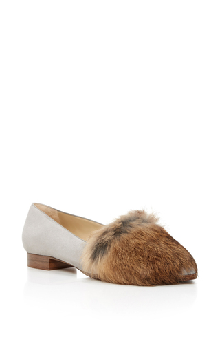 Medium alexandre birman light grey fur ballerine flat