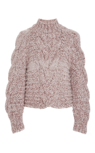 Medium ulla johnson light pink rose francisca cable handknit pullover