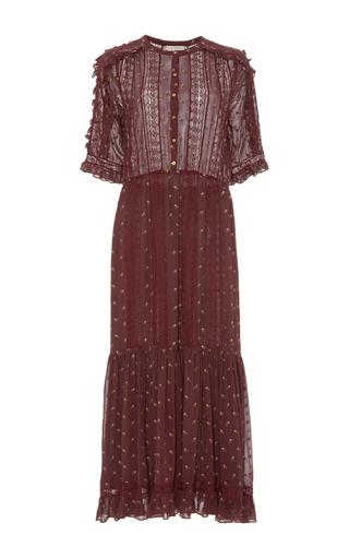 Medium ulla johnson burgundy adalie floral embroidered georgette dress