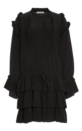 Medium ulla johnson black marlie ruffle silk dress