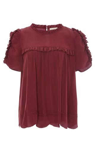 Medium ulla johnson burgundy isle ruffle silk top