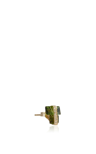 Tourmaline And Diamond Single Earring by JACQUIE AICHE Now Available on Moda Operandi