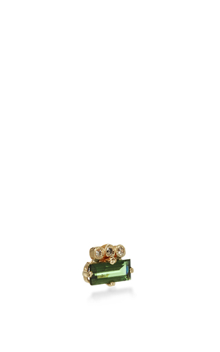 Tourmaline Baguette Single Earring by JACQUIE AICHE Now Available on Moda Operandi