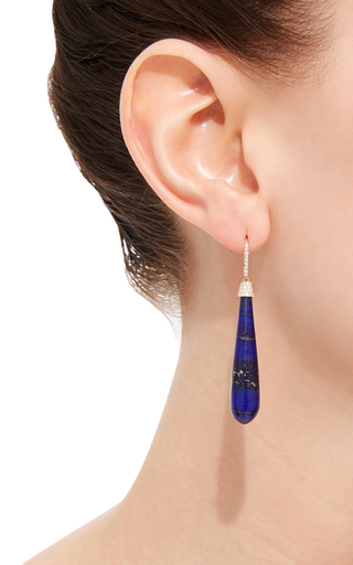 Yellow Gold Lapis Drop Earrings by SUSAN FOSTER Now Available on Moda Operandi
