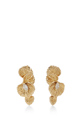 Medium jordan askill gold leaf diamond earrings