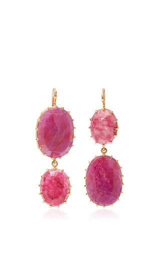 Medium renee lewis pink antique ruby drop earrings