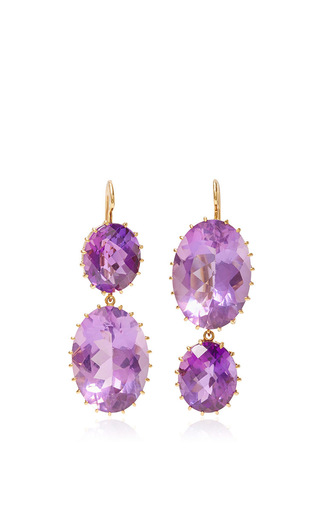 Medium renee lewis purple antique amethyst drop earrings