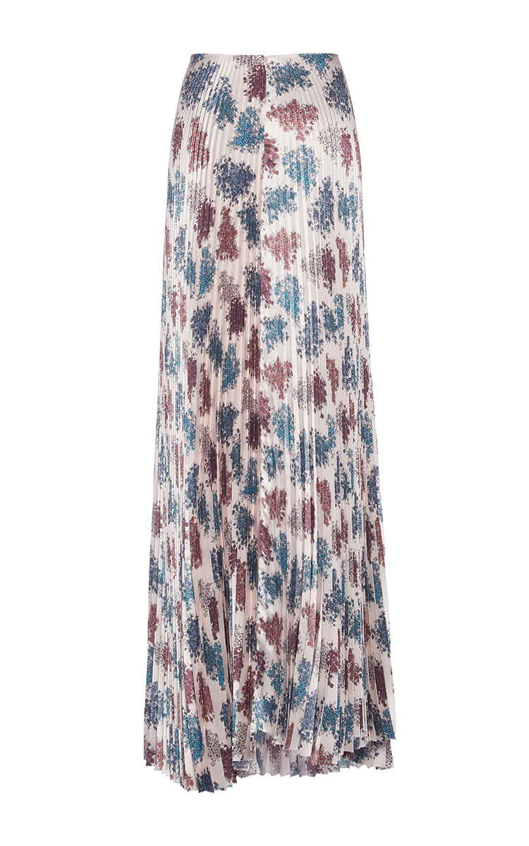 floral print pleated maxi skirt by luisa beccaria moda