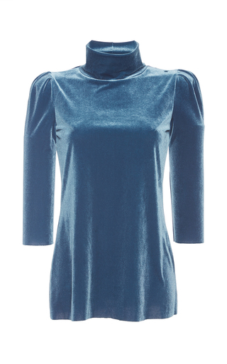 Medium luisa beccaria blue long sleeved velvet turtleneck