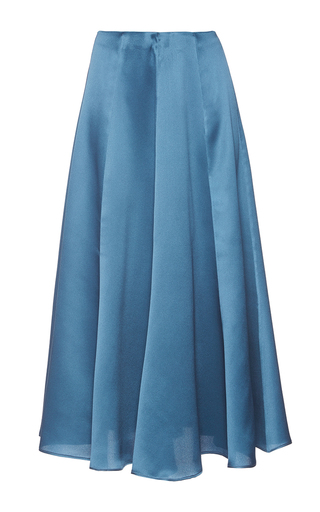 Medium luisa beccaria blue highwaisted pleated midi skirt